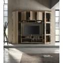 Capri modern TV wall set in canyon oak finish with LED