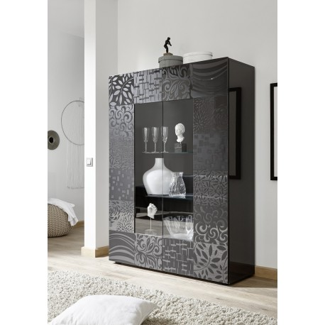 Miro Two Door Grey Gloss Decorative Display Cabinet