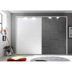 Oslo - wardrobe with sliding doors in white and grey finish