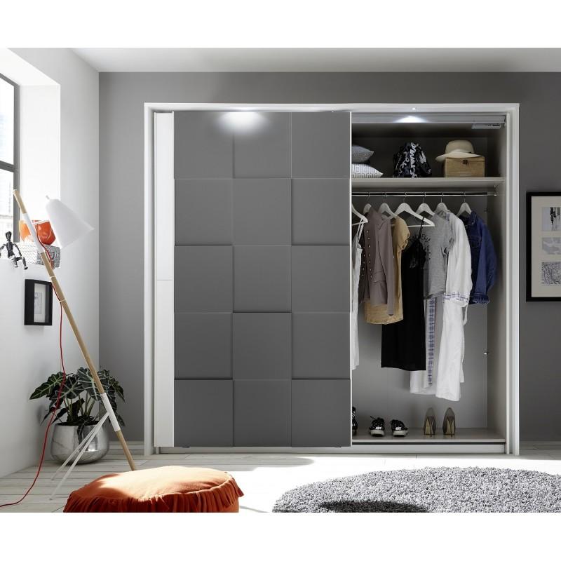 Oslo Wardrobe With Sliding Doors In White And Grey Finish