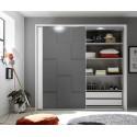 Oslo - wardrobe with sliding doors in white and grey finish