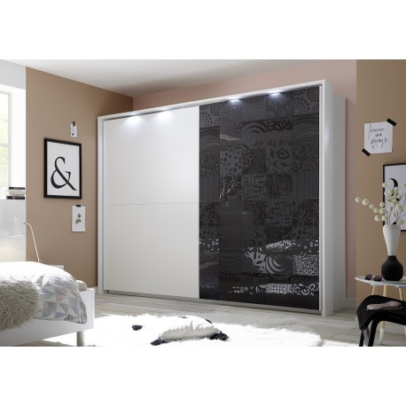 miro grey and white wardrobe with sliding doors - White Wardrobe