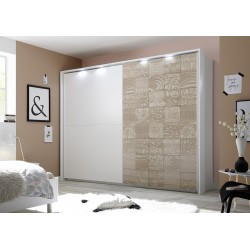 Miro - oak and white wardrobe with sliding doors