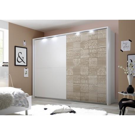 Miro - oak and white wardrobe with sliding doors