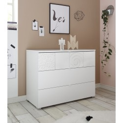 Miro white chest of drawers with decorative front