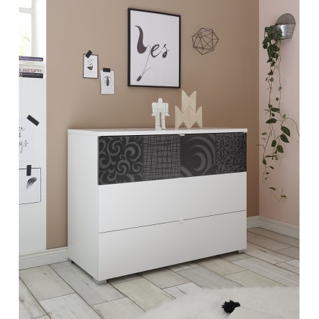 Miro white chest of drawers with grey decorative front
