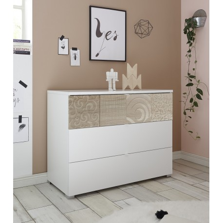 reputable site 14f18 9b5dd Miro white chest of drawers with oak decorative front