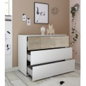 Miro white chest of drawers with oak decorative front