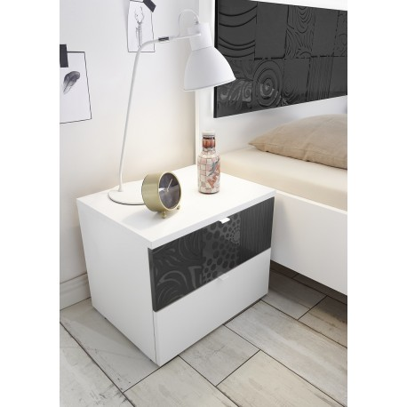 Miro Set of two bedside cabinets in white and grey gloss  sc 1 st  Sena furniture : set of bedside tables - pezcame.com