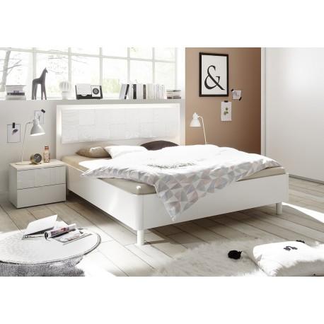 Miro Modern bed with modern headboard in white