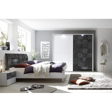 Miro modern bed with curved headboard in white and grey