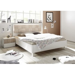 Miro Modern bed with modern headboard in white and oak