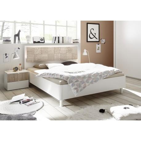 Miro Modern bed with modern headboard in white and oak
