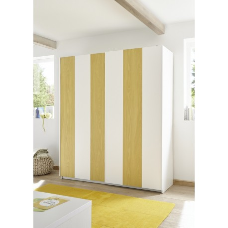 Enjoy yellow modern wardrobe with sliding doors