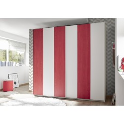 Enjoy red modern wardrobe with sliding doors