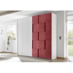Diana red modern wardrobe with sliding doors