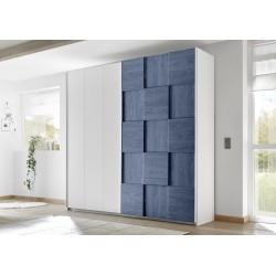 Diana blue modern wardrobe with sliding doors