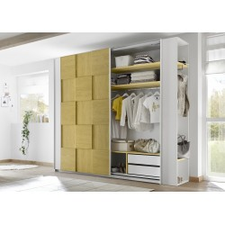 Diana yellow modern wardrobe with sliding doors