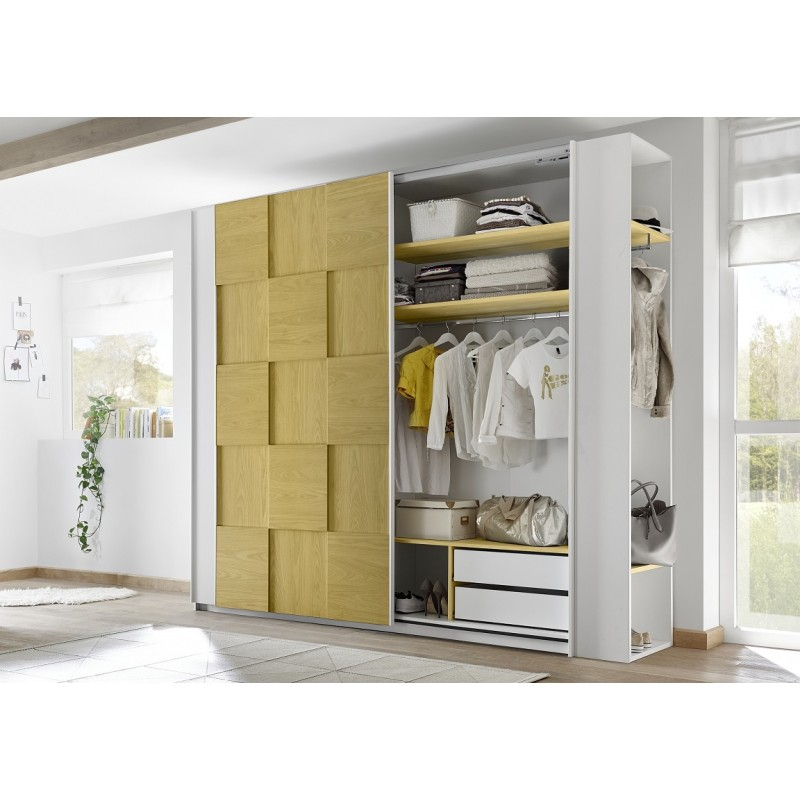 Diana Yellow Modern Wardrobe With Sliding Doors