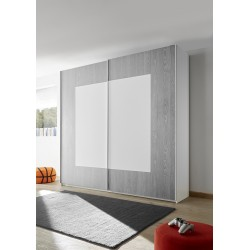 Quadro grey modern wardrobe with sliding doors