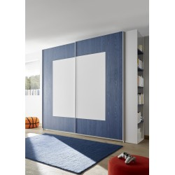 Quadro blue modern wardrobe with sliding doors