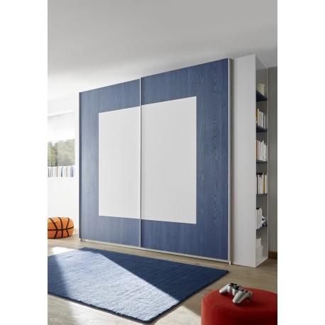Quadro blue modern wardrobe with sliding doors