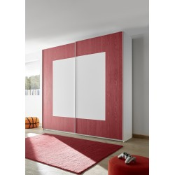 Quadro red modern wardrobe with sliding doors