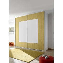 Quadro yellow modern wardrobe with sliding doors