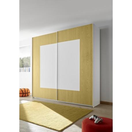 Quadro yellow modern wardrobe with sliding doors