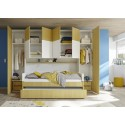 Ponte blue wardrobe with optional bed