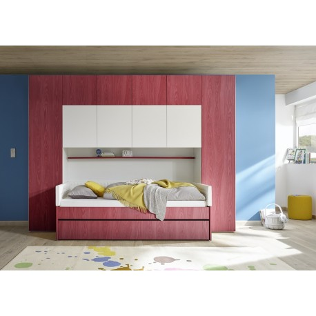 Ponte red wardrobe with optional bed