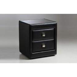Real black leather bedside cabinet