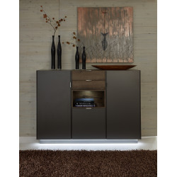 Washington grey and walnut high storage cabinet