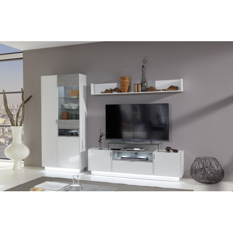 Washington 252cm White And Grey Composition With Large Display Cabinet