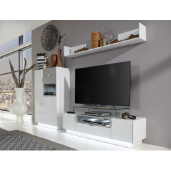 Washington 252cm white and concrete wall unit composition
