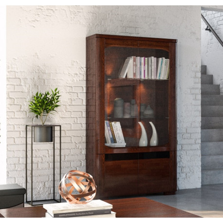 Riva assembled large solid wood display cabinet