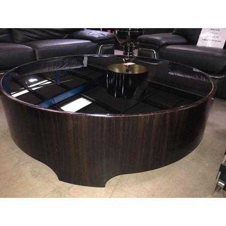 Ebony Makassar Coffee Table With Glass Top