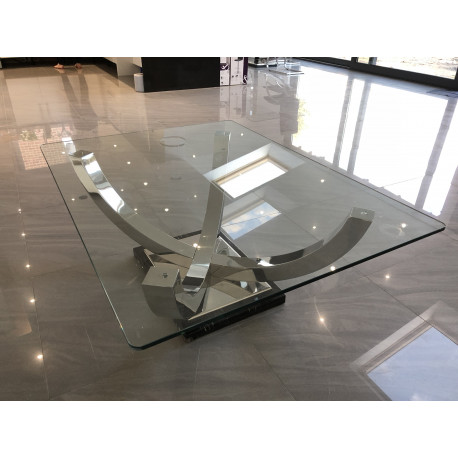 Orbit Polished Steel Coffee Table With Glass Top In Stock - Orbit coffee table