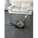 Orbit polished steel coffee table with glass top-in stock