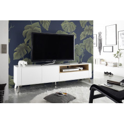Belavio matt white lacquered TV unit with steel legs