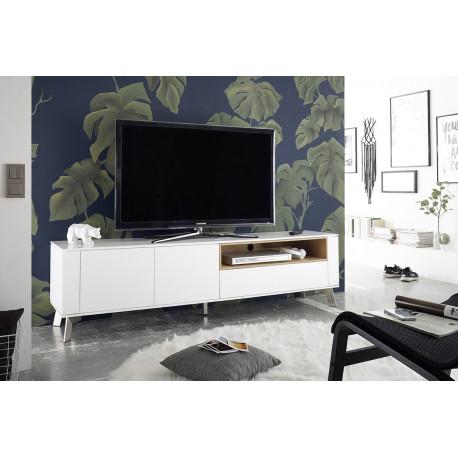 Belavio matt white lacquered TV unit with steel legs