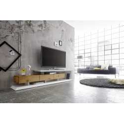 Emilia solid oak and lacquer TV stand
