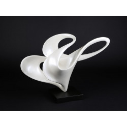 Aurora abstract sculpture in pearl white lacquer finish