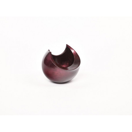 Abstract bowl in dark plum lacquer