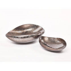 Dune XL abstract bowl in warm silver lacquer finish