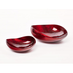 Dune XL abstract bowl in warm red lacquer finish