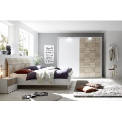 Miro modern bed with curved headboard in white and oak