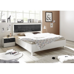 Miro bed with modern headboard in white and grey