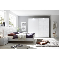 Miro bed with curved headboard in white gloss