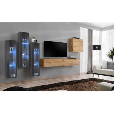 Switch X - modular wall unit with LED lights